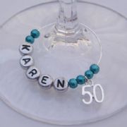 50th Birthday Personalised Wine Glass Charm